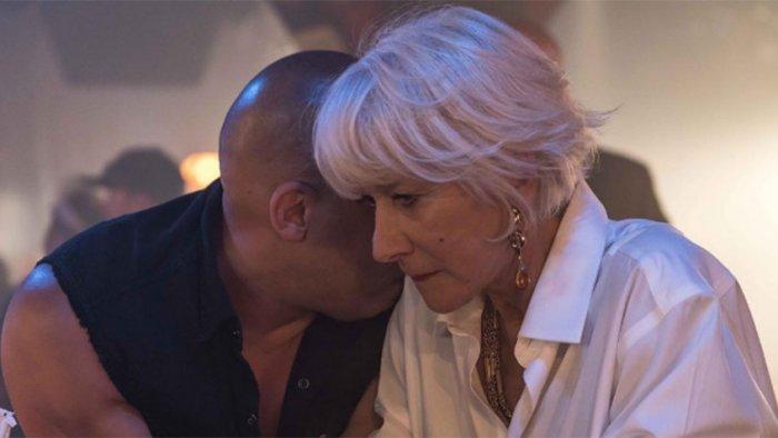 Вин Дизель и Хелен Миррен на съемках «Форсажа 8»