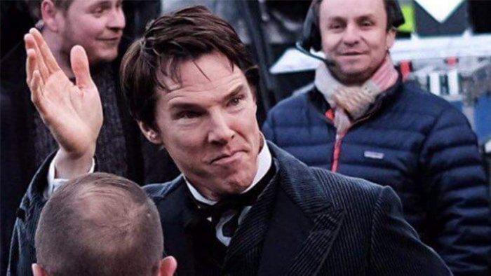 Бенедикт Камбербэтч на съемках фильма «Война токов»