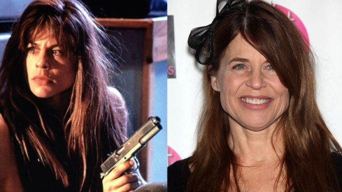 Линда Хэмилтон в роли Сары Коннор в 1991 году и актриса в 2010 году | Источник: Rex / Fotodom.ru