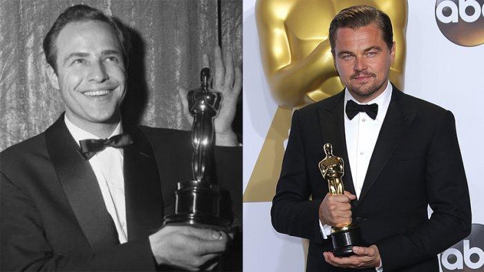 Марлон Брандо, 1954 год / Леонардо Ди Каприо, 2016 год | Источник: 7 Дней